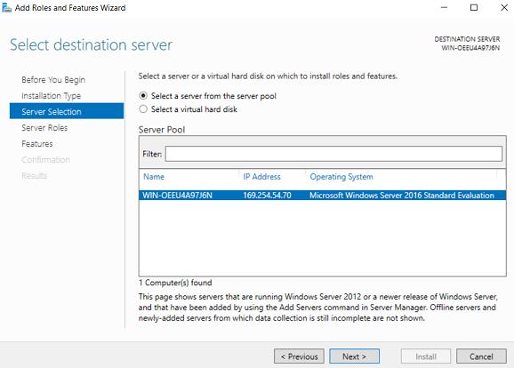 Select destination server (How to Install Hyper-V on Windows Server 2019)