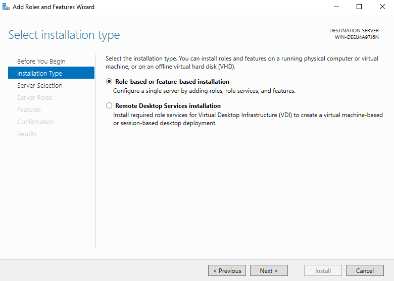 Select installation type (How to Install Hyper-V on Windows Server 2019)