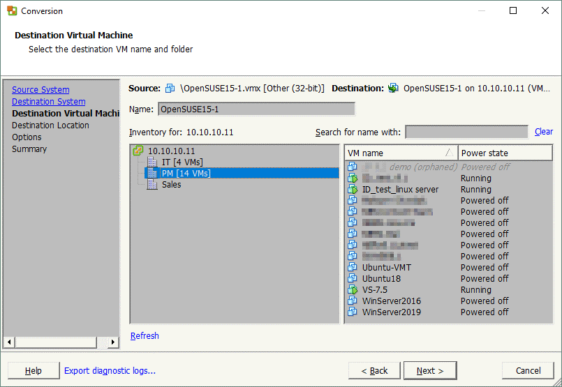 Selecting a destination VM in VMware vSphere