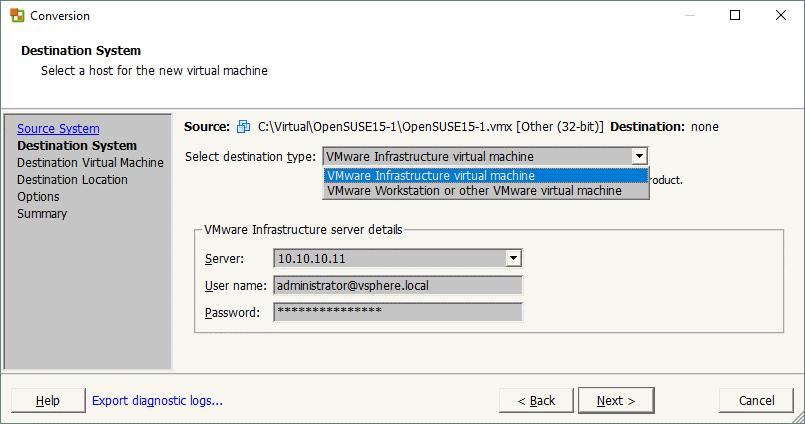 Selecting destination machine for a new V2V migration job in VMware Converter