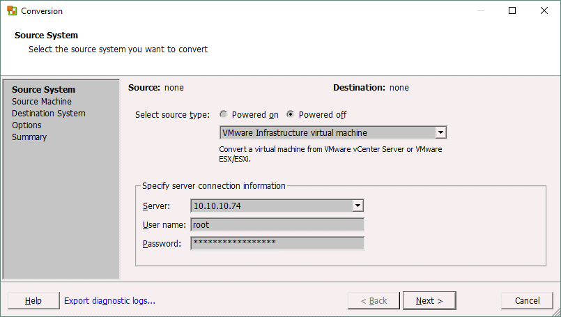Selecting the ESXi server on which a source machine is residing