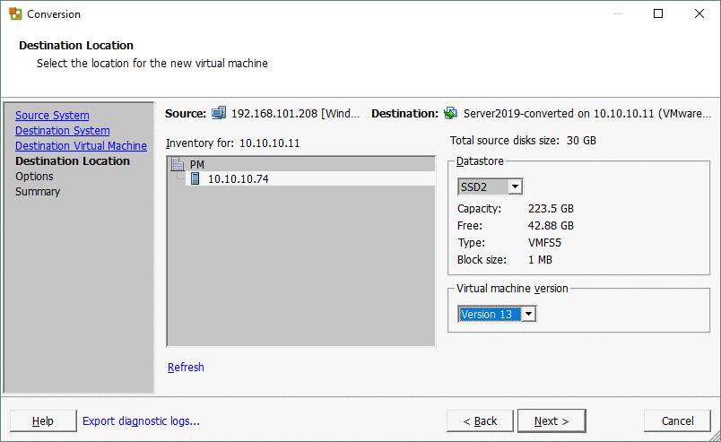 Selecting the destination location when creating a P2V conversion job in VMware Converter