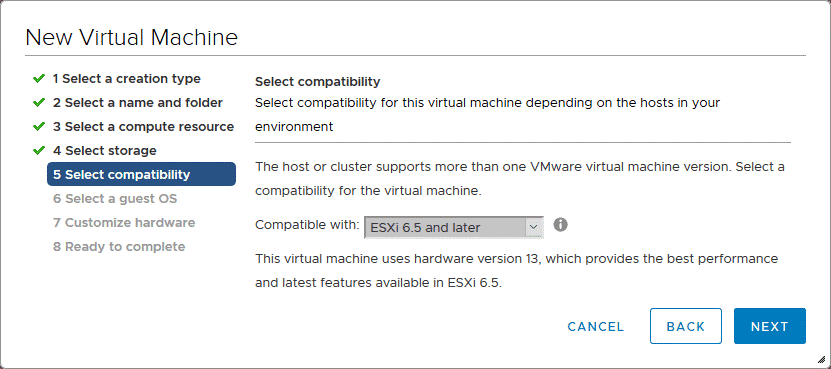 Selecting the virtual hardware compatibility for the Android VMware VM