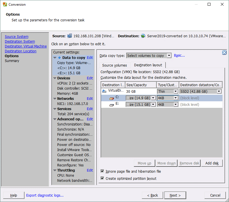 Setting up additional parameters for the P2V conversion job in VMware Converter