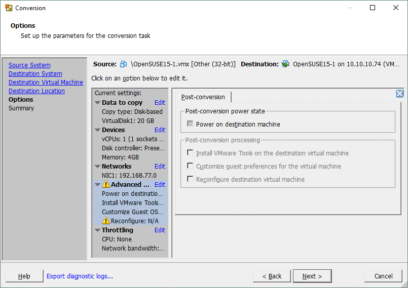 Some post-conversion options are not available for a Linux machine when configuring a V2V job in VMware Converter