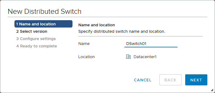 Specifying a name and location for a VMware distributed switch