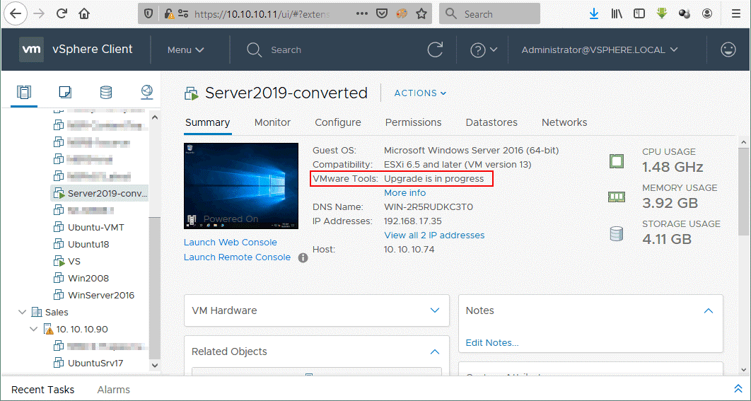 The P2V migration of the Windows machine with VMware Converter has been completed successfully