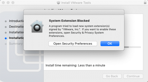 Unblocking a system extension to install VMware Tools on macOS