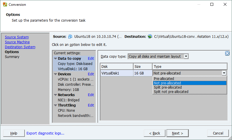 VMware Converter_selecting a virtual disk type for the destination VMware Workstation VM