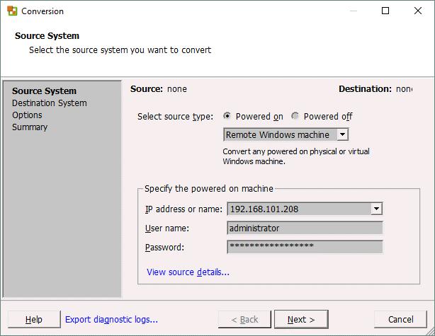 VMware P2V Converter