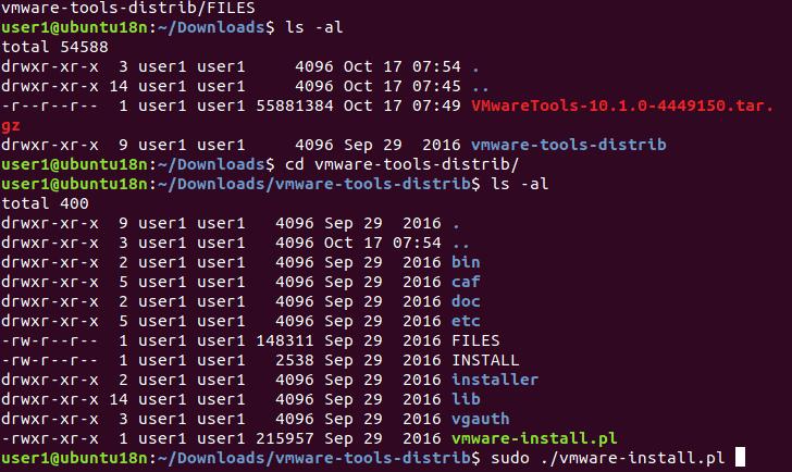 VMware Tools installation - running the VMware Tools installation script on Linux