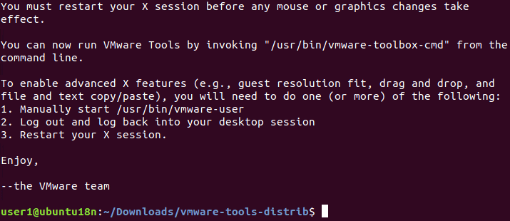 VMware Tools installed successfully on Linux