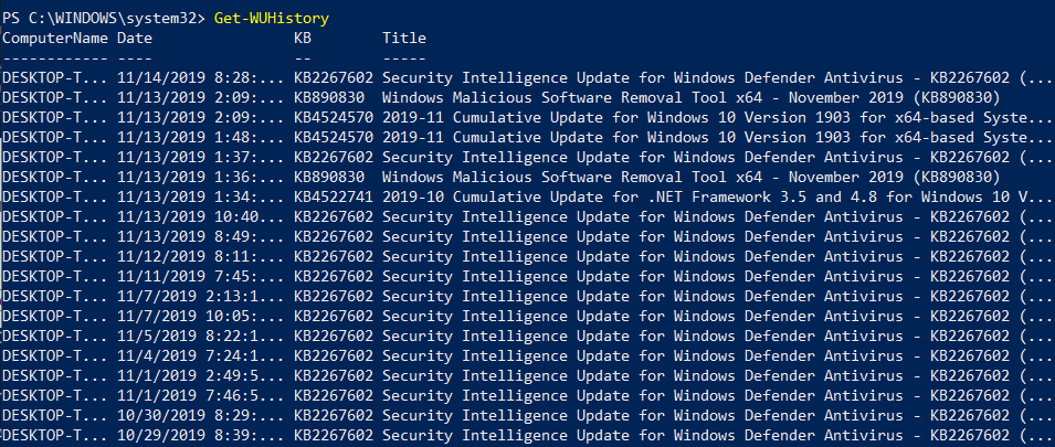 Viewing history of installed updates (automate Windows updates)