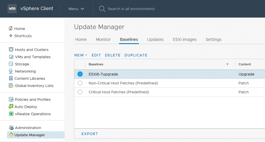 Baselines in VMware Update Manager