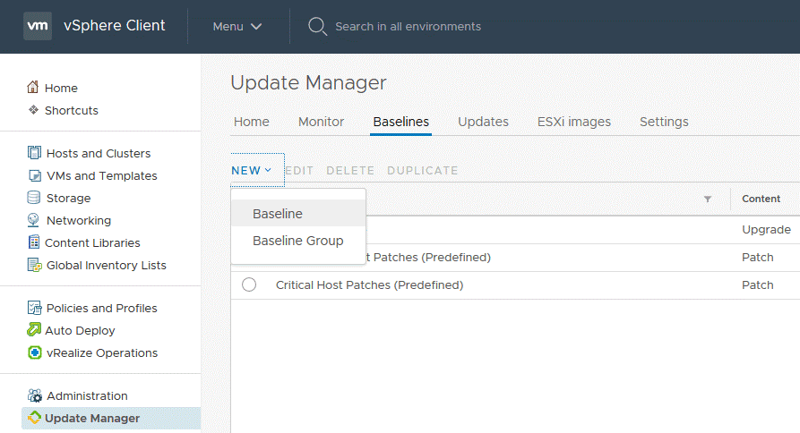 Creating a baseline to install ESXi patches in VMware Update Manager