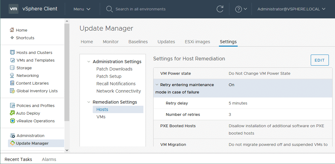 Global settings of VMware Update Manager