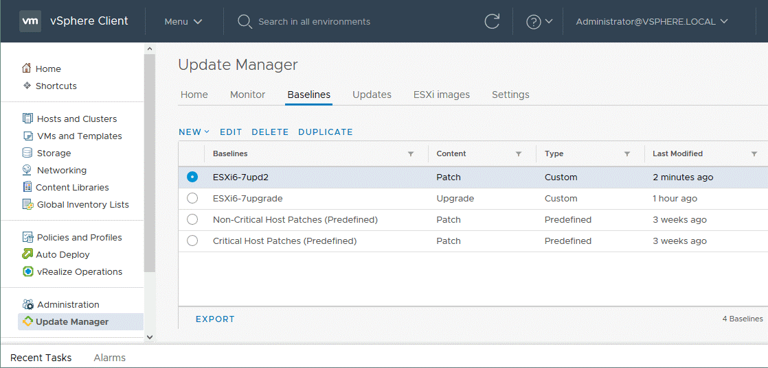 Selecting a created baseline for ESXi patching