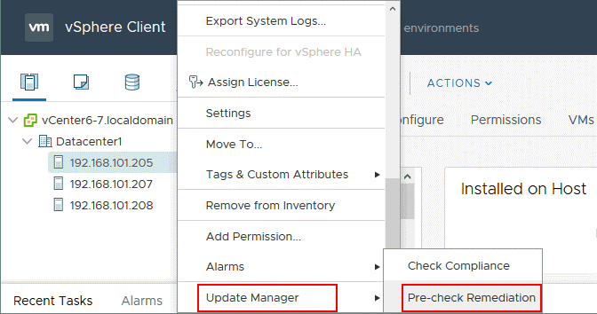 VMware Update Manager – pre-check remediation