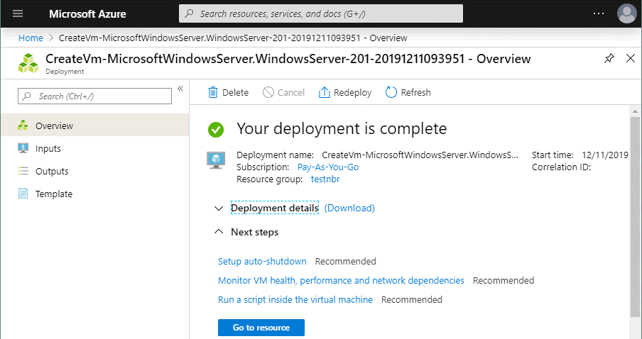 A new VM has been successfully deployed in Azure