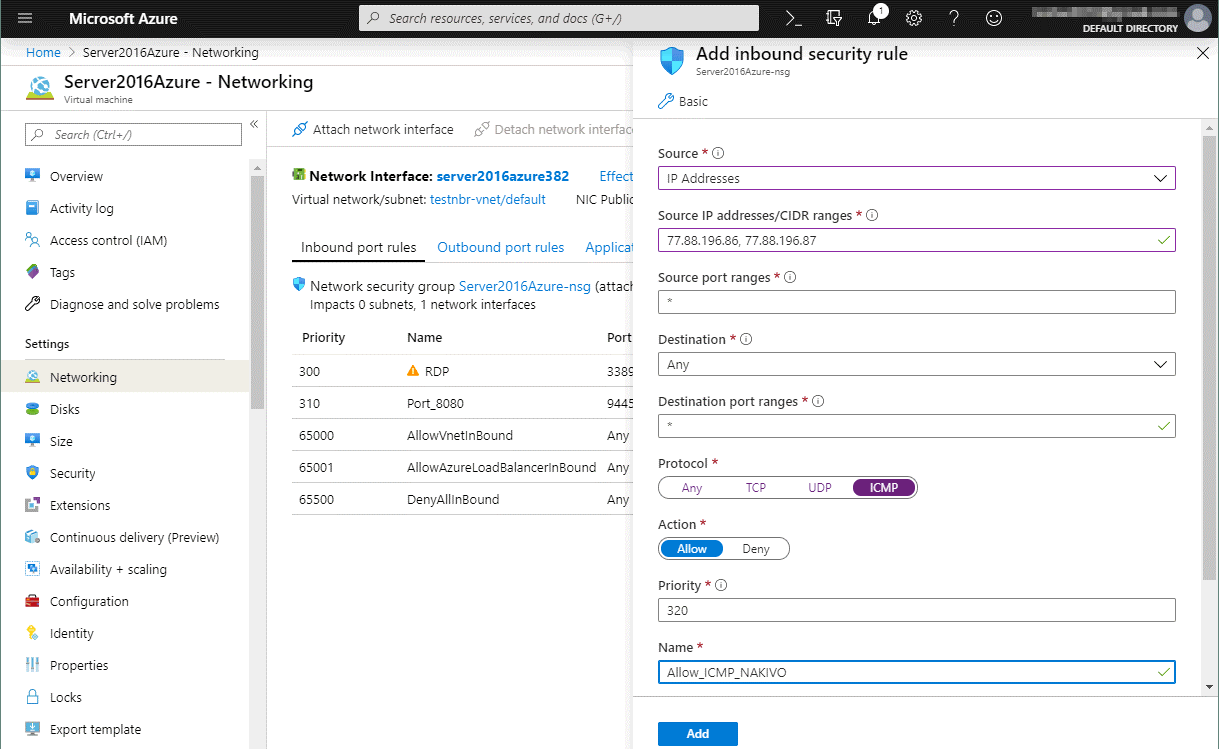 Allowing inbound ICMP connections to the Azure VM