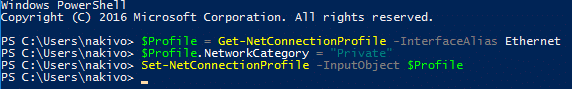 Changing the network profile in Windows