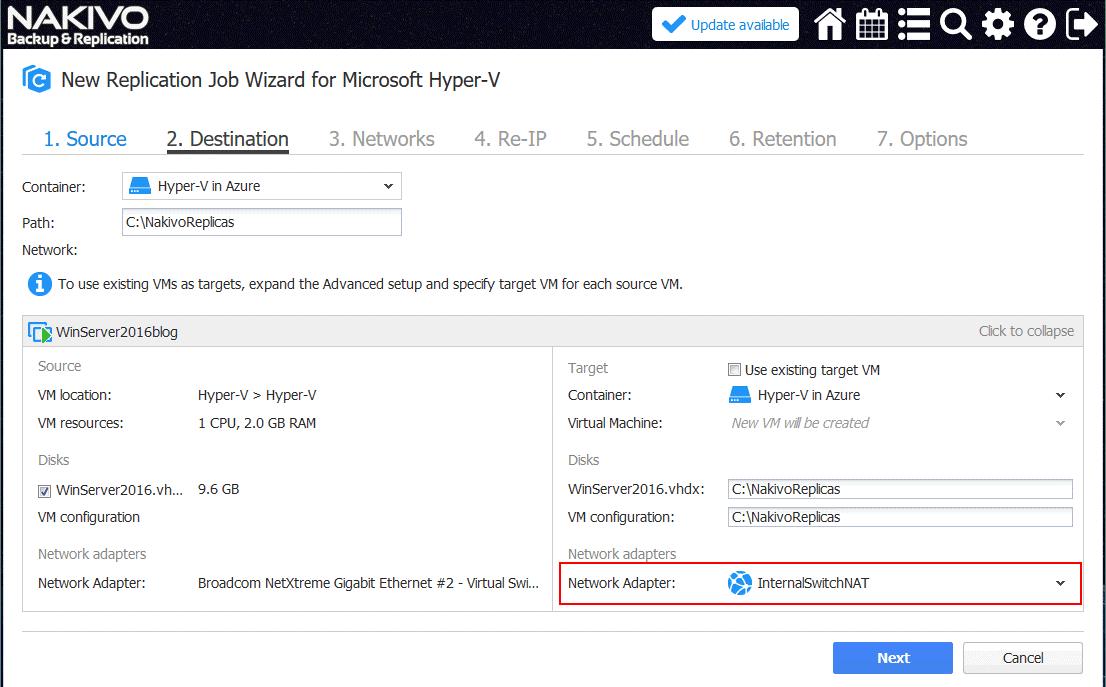 Configuring destination options for a new Hyper-V VM replication job