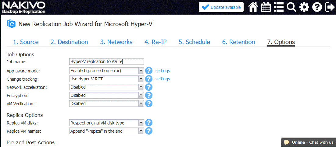 Configuring options for the Hyper-V replication job