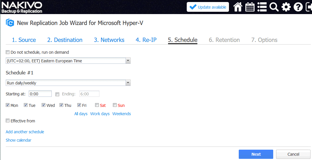 Configuring scheduling options for the Hyper-V replication job in NAKIVO Backup & Replication