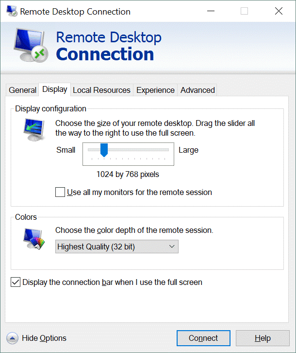 Configuring the Windows remote desktop client