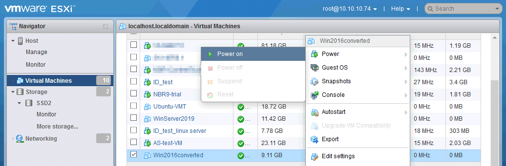 Convert Hyper-V to VMware – starting a VM that uses a converted virtual disk