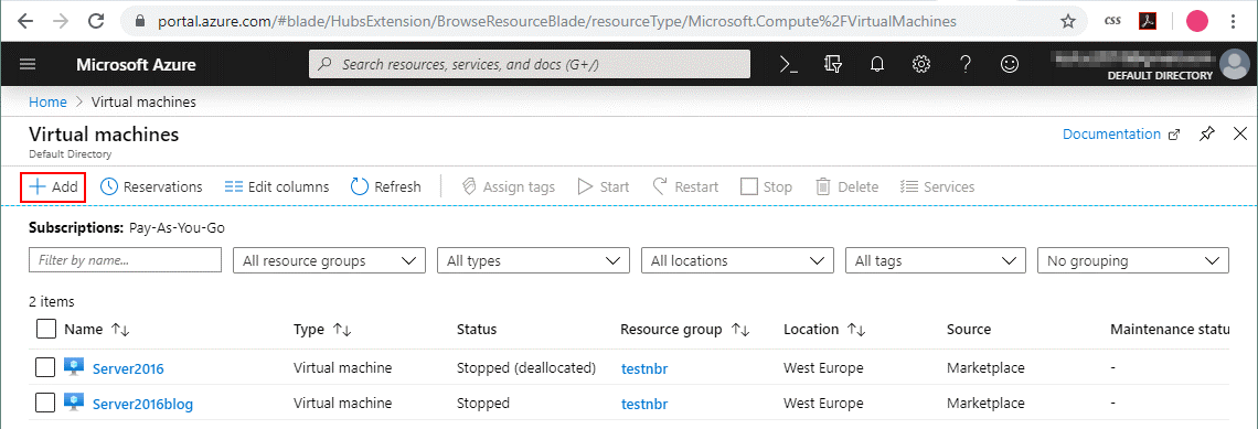Creating a new VM in Azure
