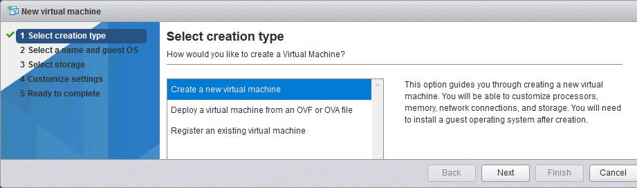Creating a new VM on an ESXi host