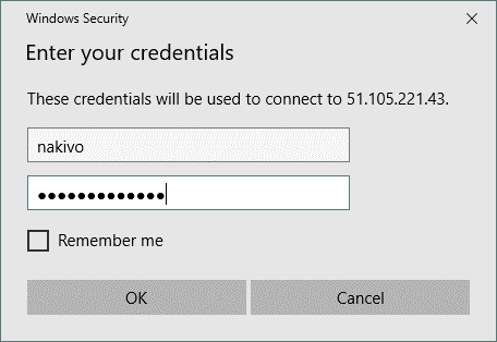 Entering Windows user credentials when connecting to the Azure VM via RDP