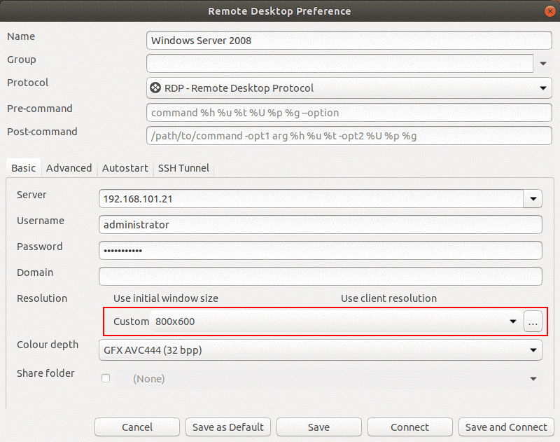 How to use remote desktop connection in Ubuntu – configuring the RDP connection preset