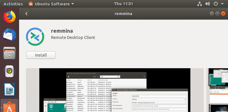 Installing Remmina as the Ubuntu RDP client