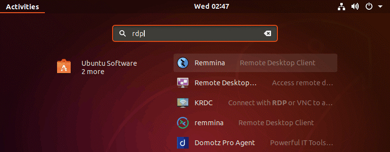 Installing Remmina for remote desktop Linux to Windows connections