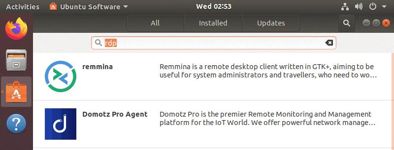 Installing Remmina in Ubuntu by using GUI to allow RDP for Ubuntu