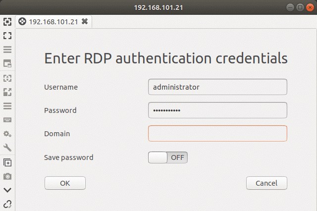 Linux RDP to Windows – entering the credentials to connect