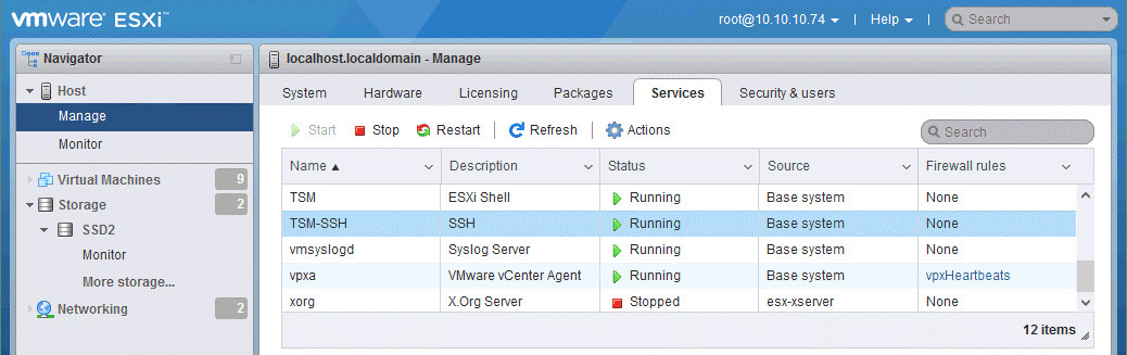 SSH access is enabled on an ESXi host