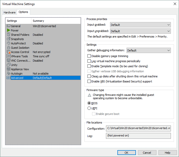 Selecting BIOS in the options of the destination VMware VM