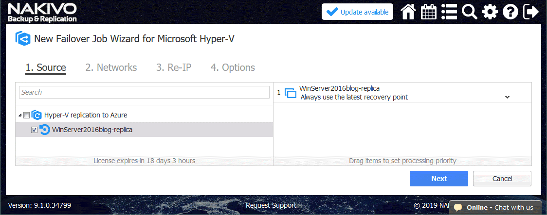 Selecting a nested VM replica of the Hyper-V format that will be used to fail over