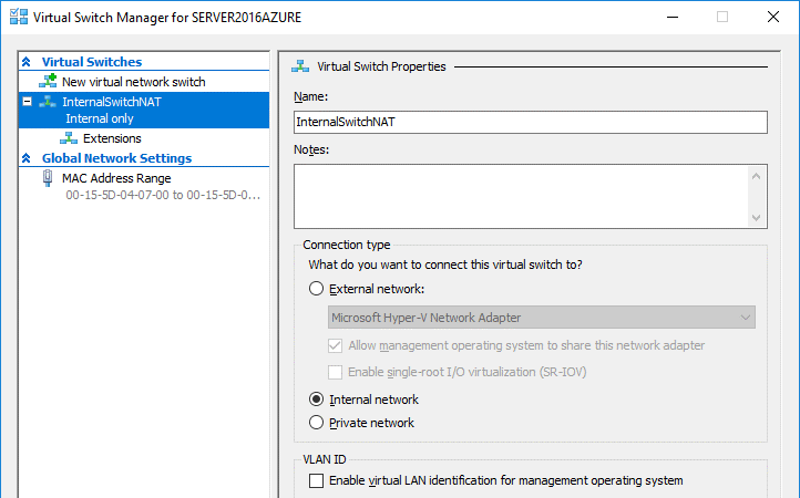 Selecting virtual switch settings in the GUI of Hyper-V Manager