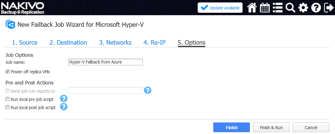 Setting up options for Hyper-V VM failback job
