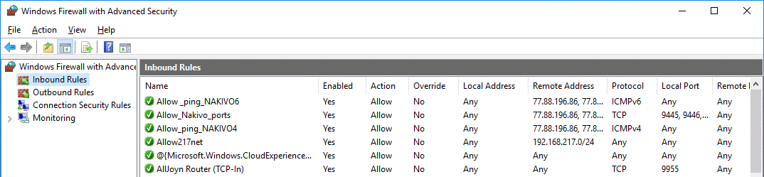 The needed rules are created in Windows Firewall on Windows Server 2016 before creating a nested VM replica