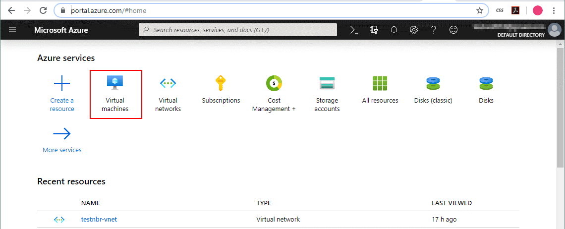 The web interface of Microsoft Azure (Hyper-V Nested Virtualization)