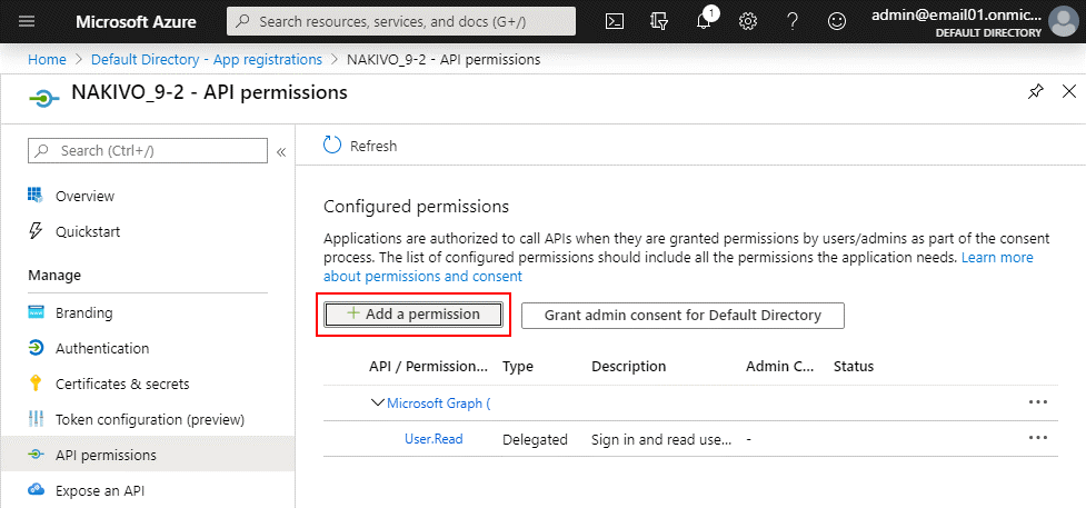 Adding API permissions to make possible adding to Inventory, backup, and recovery of Office 365