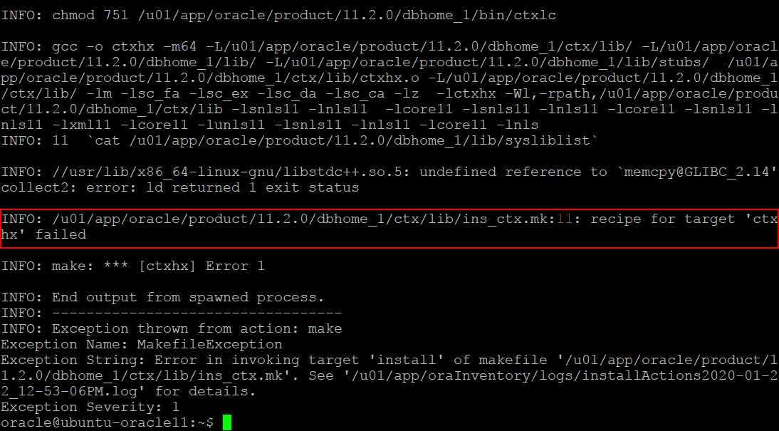 Checking the log file to fix the error in invoking target install of makefile ins_ctx.mk
