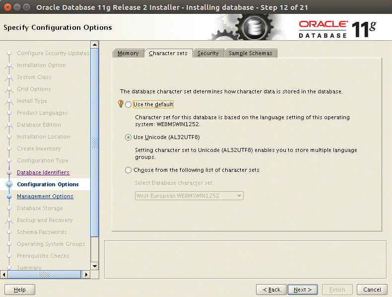 Configuration options that are used to install Oracle 11g on Ubuntu