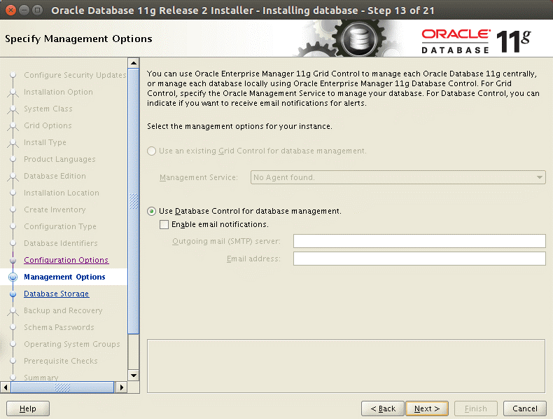 Configuring Management options to install Oracle 11g on Ubuntu