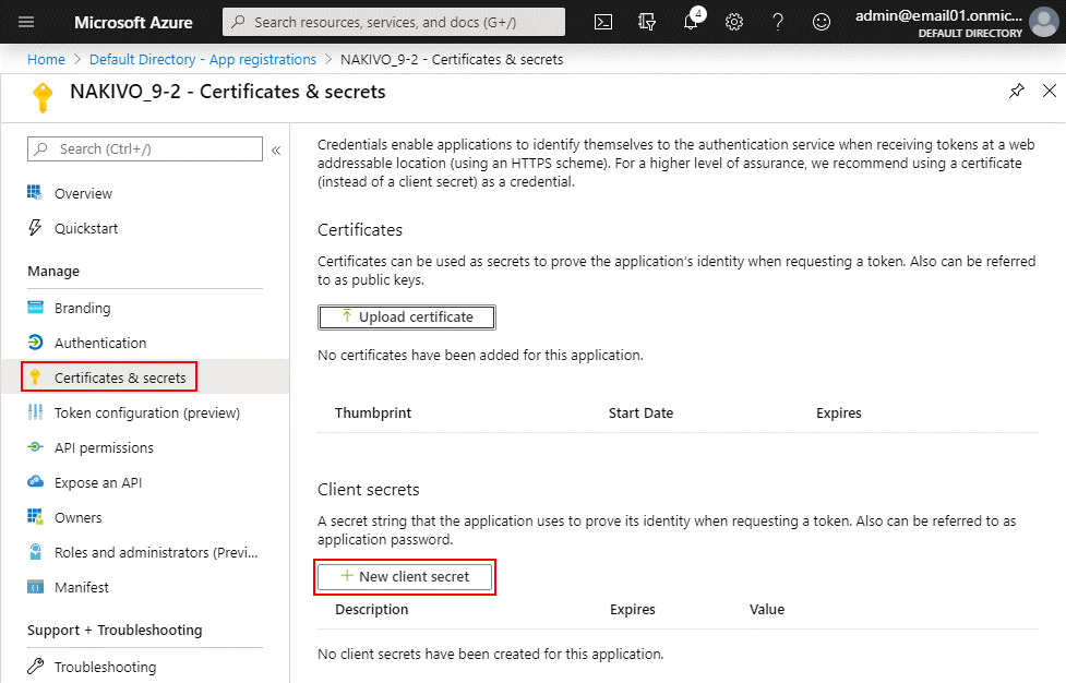 Creating a new client secret for Office 365 in Azure AD settings